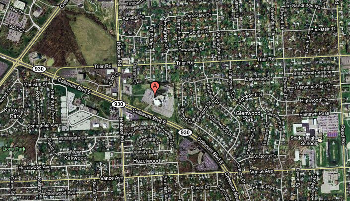 Map showing Adult Life Training in NE Fort Wayne, IN